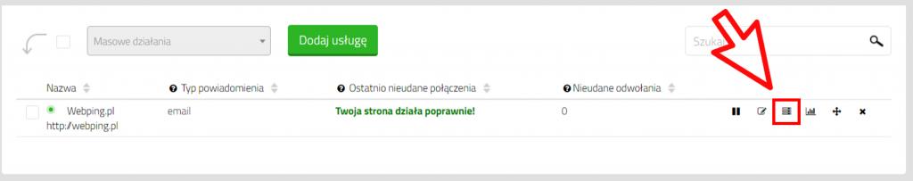 WebPing.pl - okna serwisowe strony