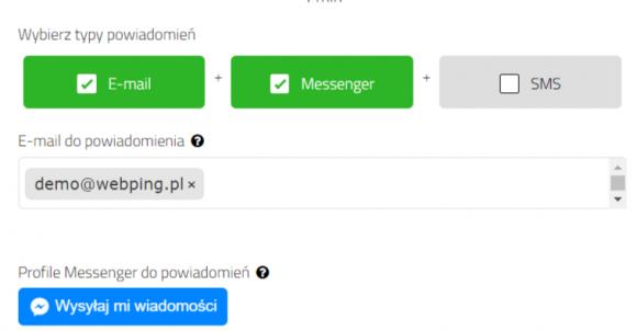 webping.pl - powiadomienia przez messengera o awarii strony