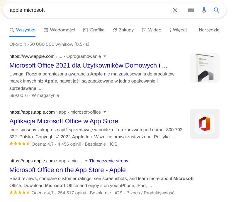 apple microsoft wyniki wyszukiwania